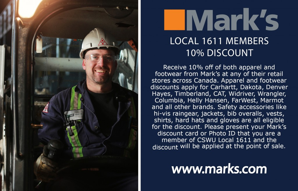 Mark's Work Warehouse, union discount, LiUNA, Local 1611, construction worker, labourer